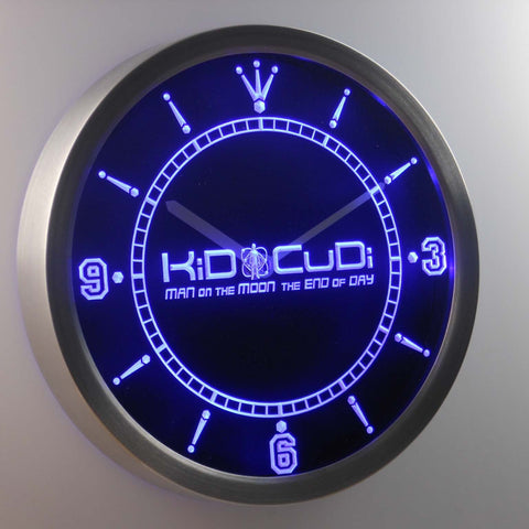 Image of Kid Cudi Man On The Moon LED Neon Wall Clock - Blue - SafeSpecial