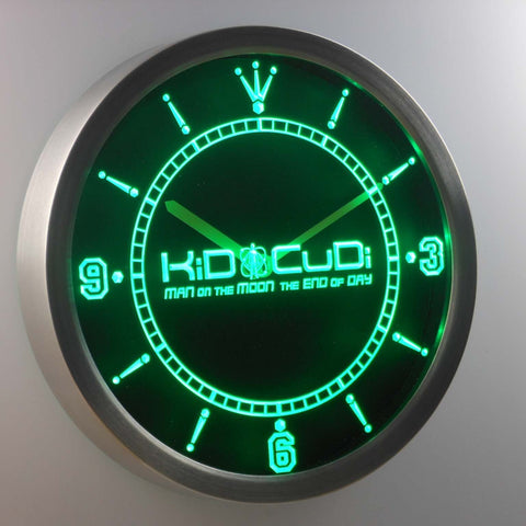 Image of Kid Cudi Man On The Moon LED Neon Wall Clock - Green - SafeSpecial