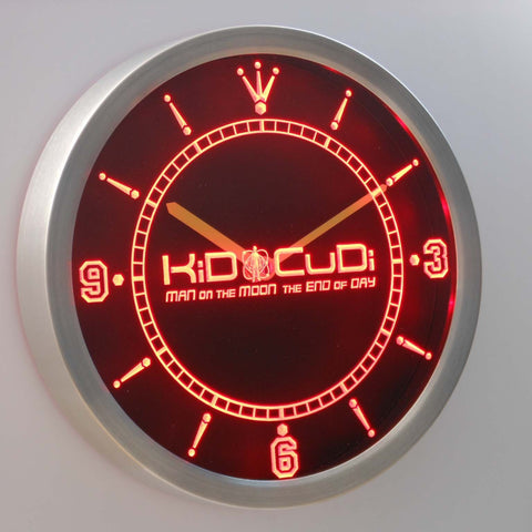 Image of Kid Cudi Man On The Moon LED Neon Wall Clock - Red - SafeSpecial