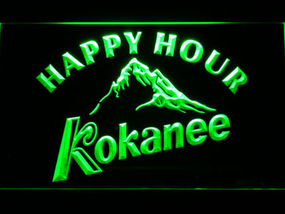 Kokanee Happy Hour LED Neon Sign - Green - SafeSpecial