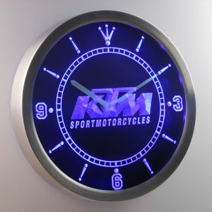 KTM LED Neon Wall Clock - Blue - SafeSpecial