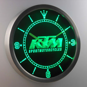 KTM LED Neon Wall Clock - Green - SafeSpecial