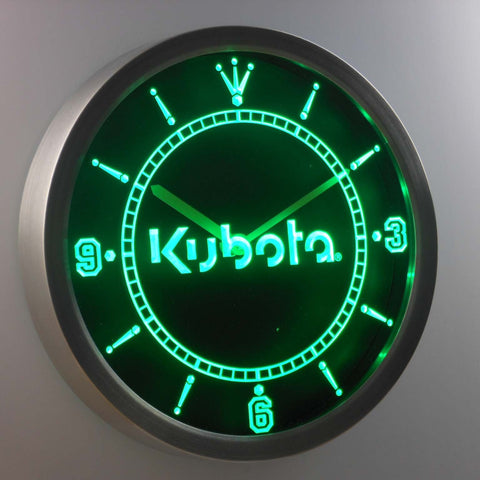 Kubota LED Neon Wall Clock - Green - SafeSpecial