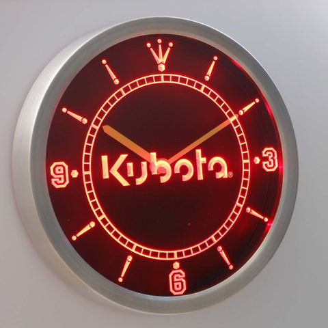 Kubota LED Neon Wall Clock - Red - SafeSpecial