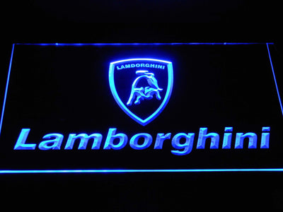 Lamborghini Wordmark LED Neon Sign - Blue - SafeSpecial