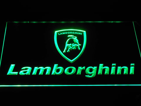 Image of Lamborghini Wordmark LED Neon Sign - Green - SafeSpecial