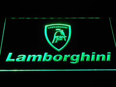 Lamborghini Wordmark LED Neon Sign - Green - SafeSpecial