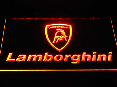 Lamborghini Wordmark LED Neon Sign - Orange - SafeSpecial
