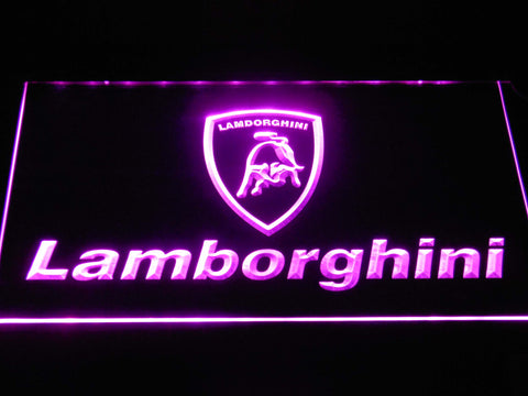 Image of Lamborghini Wordmark LED Neon Sign - Purple - SafeSpecial