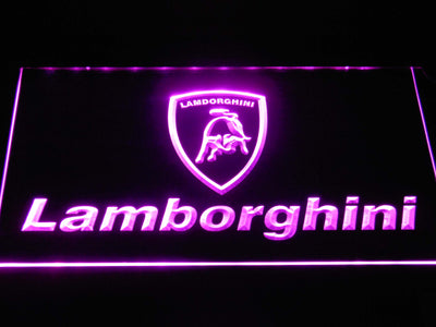 Lamborghini Wordmark LED Neon Sign - Purple - SafeSpecial