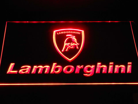 Image of Lamborghini Wordmark LED Neon Sign - Red - SafeSpecial