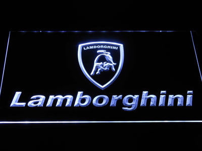 Lamborghini Wordmark LED Neon Sign - White - SafeSpecial