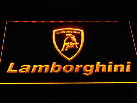 Image of Lamborghini Wordmark LED Neon Sign - Yellow - SafeSpecial