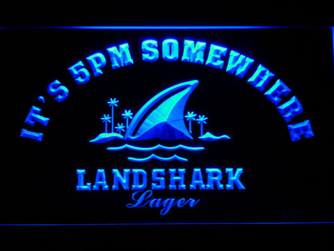 Landshark It's 5pm Somewhere LED Neon Sign - Blue - SafeSpecial