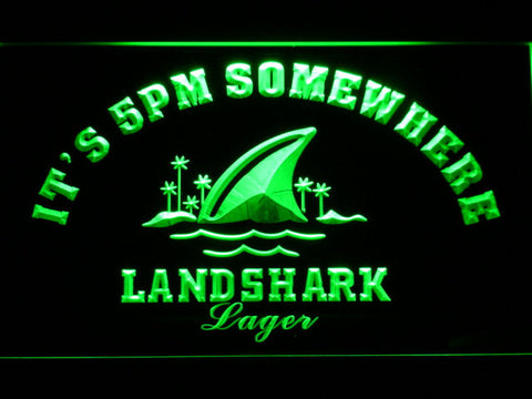Landshark It's 5pm Somewhere LED Neon Sign - Green - SafeSpecial