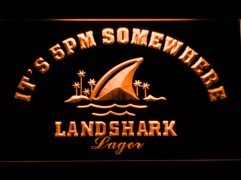 Landshark It's 5pm Somewhere LED Neon Sign - Orange - SafeSpecial