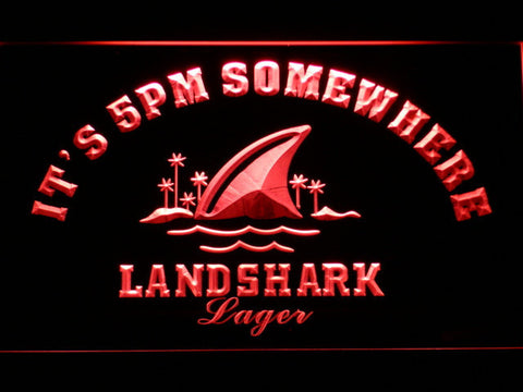Landshark It's 5pm Somewhere LED Neon Sign - Red - SafeSpecial