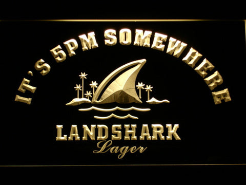 Landshark It's 5pm Somewhere LED Neon Sign - Yellow - SafeSpecial