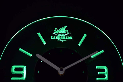 Image of Landshark Modern LED Neon Wall Clock - Green - SafeSpecial