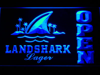 Landshark Open LED Neon Sign - Blue - SafeSpecial