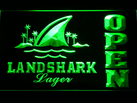 Image of Landshark Open LED Neon Sign - Green - SafeSpecial