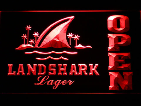 Image of Landshark Open LED Neon Sign - Red - SafeSpecial