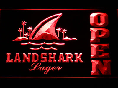Landshark Open LED Neon Sign - Red - SafeSpecial