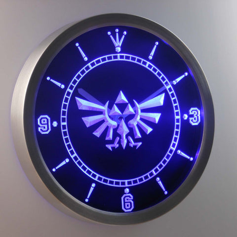 Image of Legend Of Zelda Triforce LED Neon Wall Clock - Blue - SafeSpecial