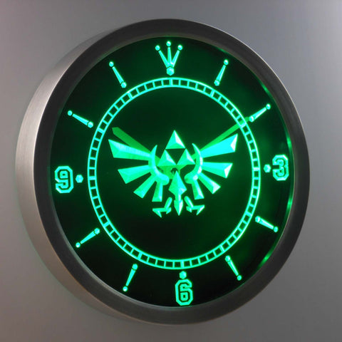 Image of Legend Of Zelda Triforce LED Neon Wall Clock - Green - SafeSpecial