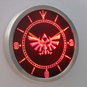 Legend Of Zelda Triforce LED Neon Wall Clock - Red - SafeSpecial