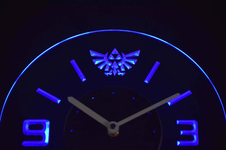 Legend Of Zelda Triforce Modern LED Neon Wall Clock - Blue - SafeSpecial