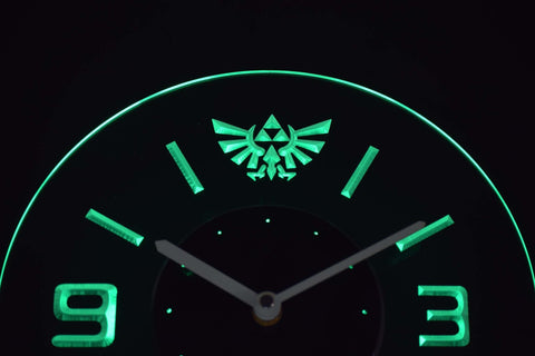 Image of Legend Of Zelda Triforce Modern LED Neon Wall Clock - Green - SafeSpecial