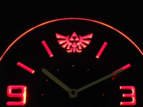 Image of Legend Of Zelda Triforce Modern LED Neon Wall Clock - Red - SafeSpecial