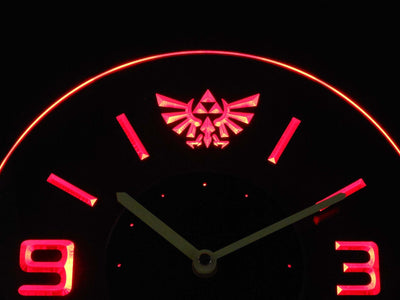 Legend Of Zelda Triforce Modern LED Neon Wall Clock - Red - SafeSpecial