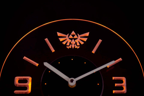 Image of Legend Of Zelda Triforce Modern LED Neon Wall Clock - Yellow - SafeSpecial