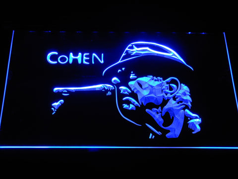 Leonard Cohen Face LED Neon Sign - Blue - SafeSpecial