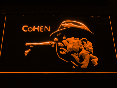 Leonard Cohen Face LED Neon Sign - Orange - SafeSpecial
