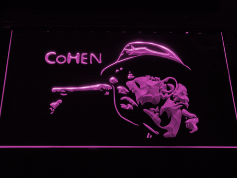 Leonard Cohen Face LED Neon Sign - Purple - SafeSpecial