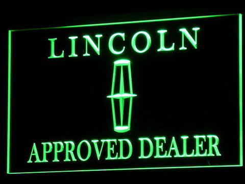Image of Lincoln Approved Dealer LED Neon Sign - Green - SafeSpecial