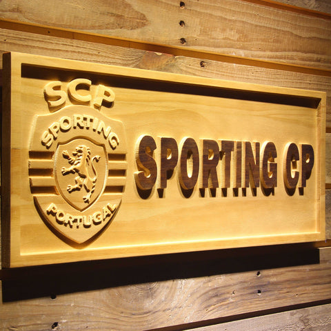 Image of Lisbon Sporting Clube de Portugal Wooden Sign - - SafeSpecial