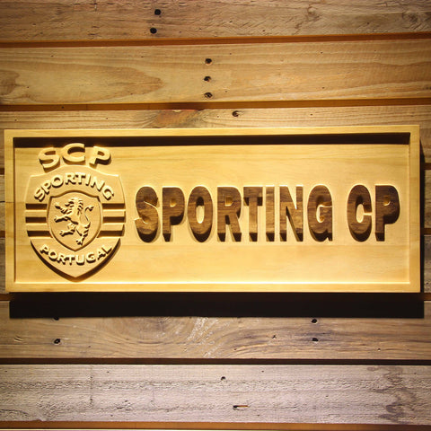 Image of Lisbon Sporting Clube de Portugal Wooden Sign - Small - SafeSpecial