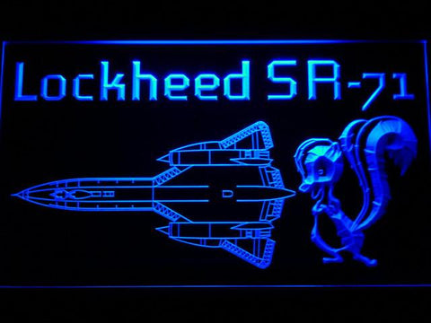 Image of Lockheed SR-71 Aircraft LED Neon Sign - Blue - SafeSpecial