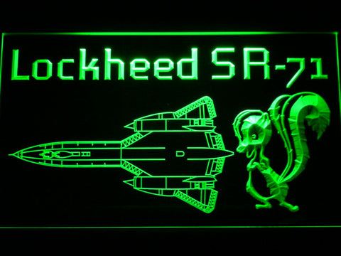 Image of Lockheed SR-71 Aircraft LED Neon Sign - Green - SafeSpecial