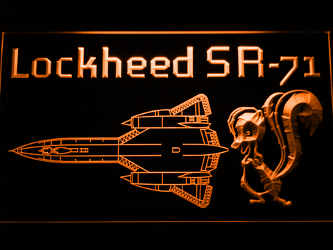 Image of Lockheed SR-71 Aircraft LED Neon Sign - Orange - SafeSpecial