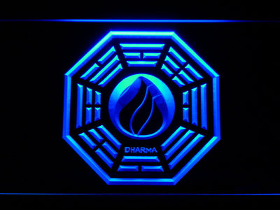 Lost Dharma Initiative The Flame LED Neon Sign - Blue - SafeSpecial