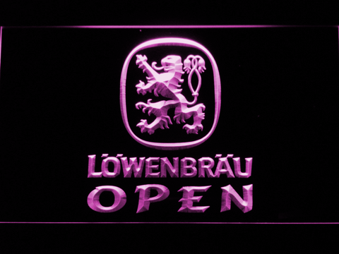 Image of Lowenbrau Open LED Neon Sign - Purple - SafeSpecial