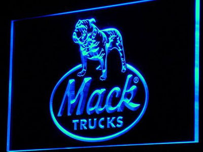 Mack Old Logo LED Neon Sign - Blue - SafeSpecial