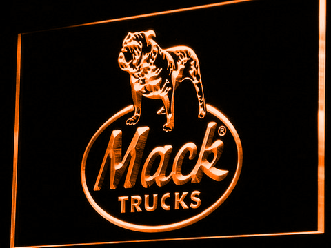 Image of Mack Old Logo LED Neon Sign - Orange - SafeSpecial