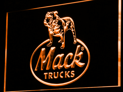 Mack Old Logo LED Neon Sign - Orange - SafeSpecial