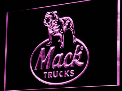 Mack Old Logo LED Neon Sign - Purple - SafeSpecial